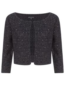Cap sleeve knitted sequin top