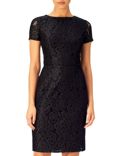 Adrianna Papell Short Sleeve Lace Sheath Dress