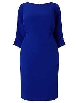 3/4 sleeve ruched shift dress