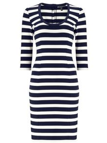 Adrianna Papell Three quarter sleeve striped dress