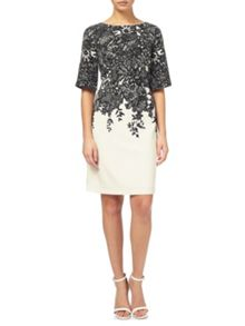 Adrianna Papell Black and ivory print dress