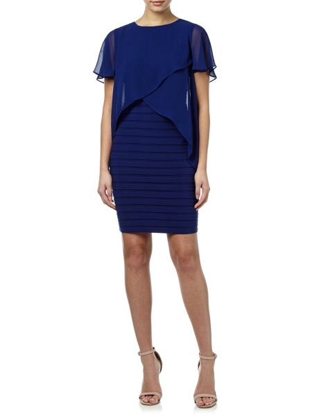 Adrianna Papell Short sleeve layer bandeau dress