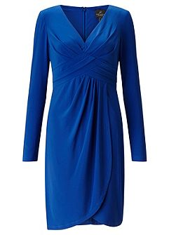 Front Draped Full Sleeved Sheath Dress.