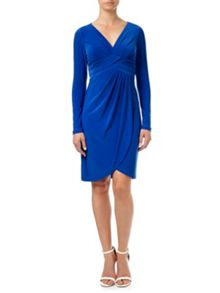 Adrianna Papell Front Draped Full Sleeved Sheath Dress.