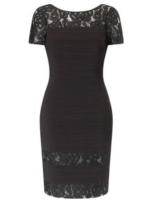 Short Sleeve Lace Bandeau Dress
