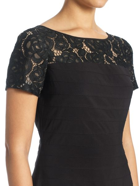Adrianna Papell Short Sleeve Lace Bandeau Dress