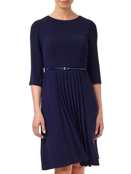 Adrianna Papell Crepe Dress With Pleated Front