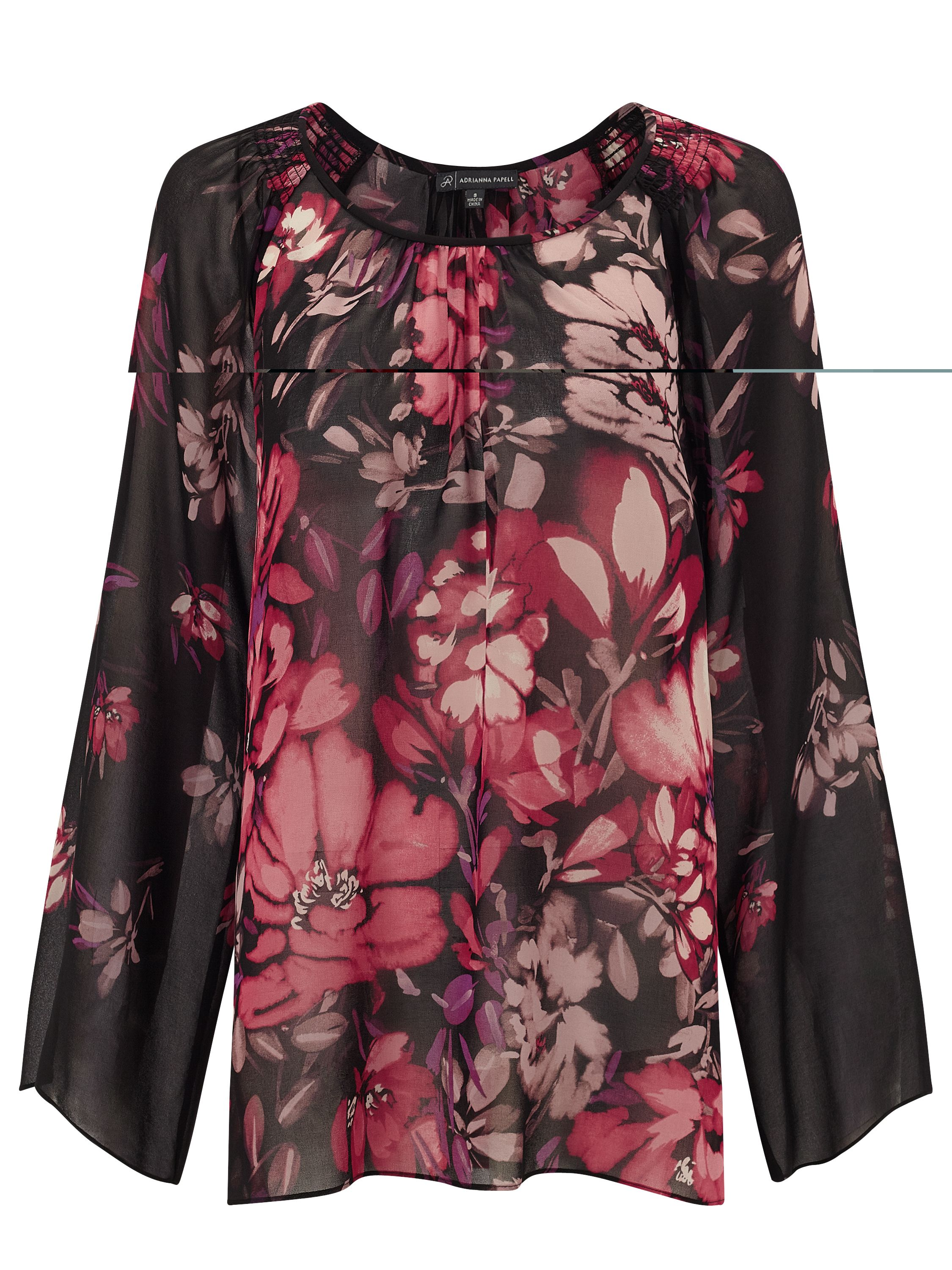 Adrianna Papell Black and pink floral top, Multi-Coloured