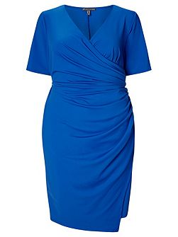 Plus Size Short Sleeve Faux Wrap Dress