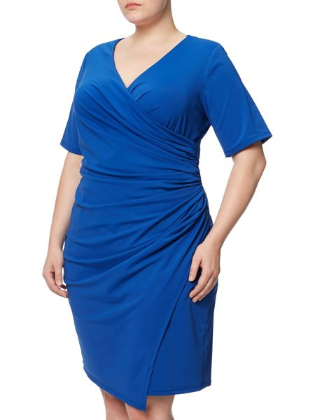 Adrianna Papell Plus Size Short Sleeve Faux Wrap Dress
