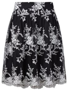 Adrianna Papell Floral tulle skirt