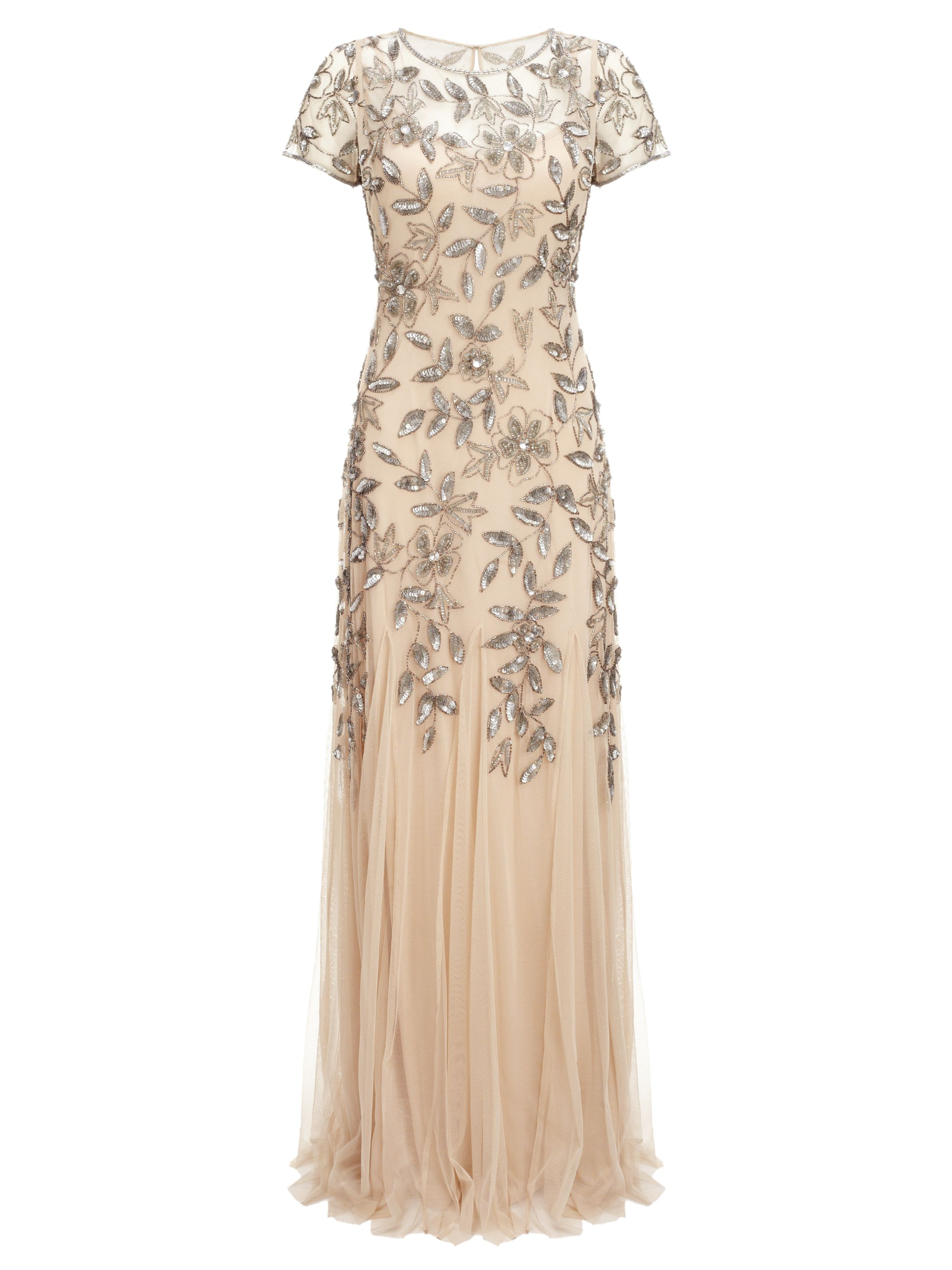 Adrianna Papell Floral beaded dress, Taupe