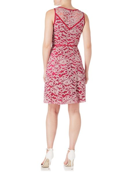Adrianna Papell Sleeveless Lace Fit And Flare Dress