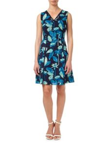 Adrianna Papell Perforated Fit And Flare Dress