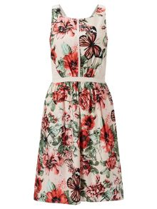 Adrianna Papell Sleeveless Floral Fit And Flare Dress