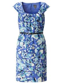 Adrianna Papell Belted Floral Scoop Neck Dress.