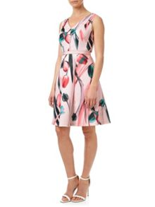 Adrianna Papell Scuba Jersey Fit And Flare Dress