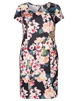 Plus Size Short Sleeve Scuba Floral Dress