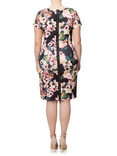 Adrianna Papell Plus Size Short Sleeve Scuba Floral Dress