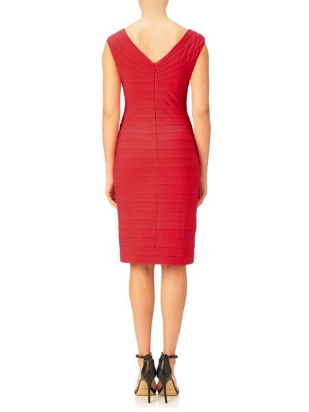 Adrianna Papell C Sleeve Pleated Sheath Dress