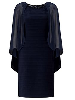 Sheath Dress With Chiffon Capelet