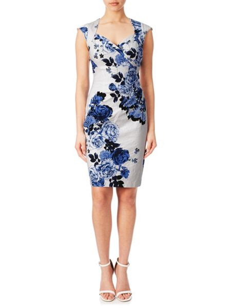 Adrianna Papell Cap sleeve floral dress