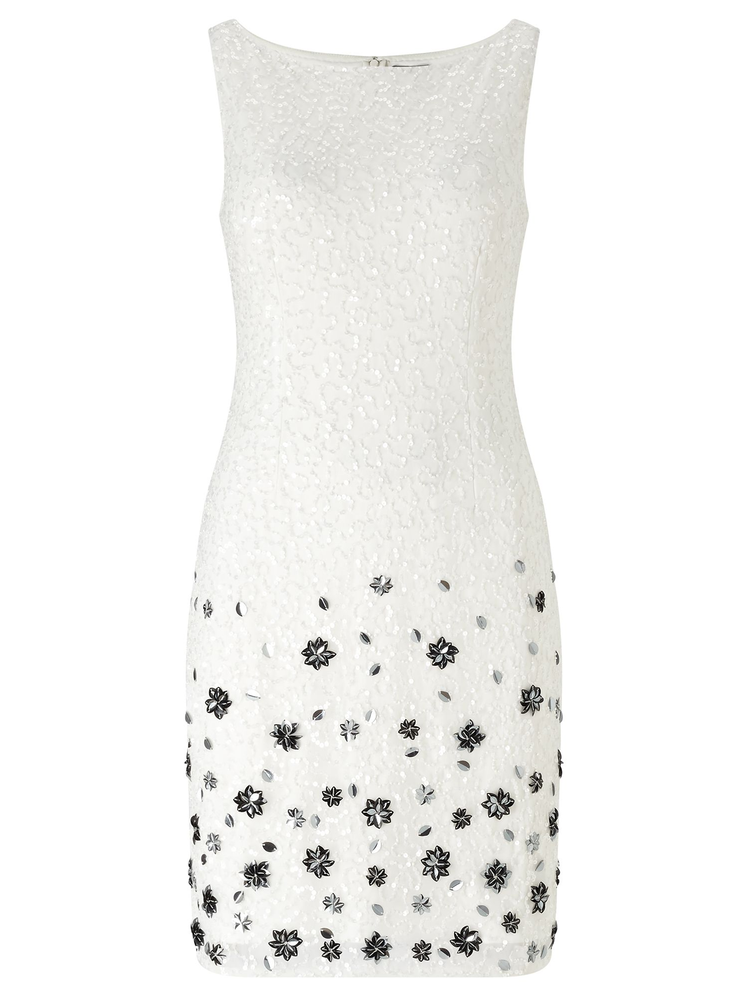 Adrianna Papell Sleeveless beaded sheath dress, White