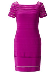 Adrianna Papell Jersey Bandage Dress With Mesh Details