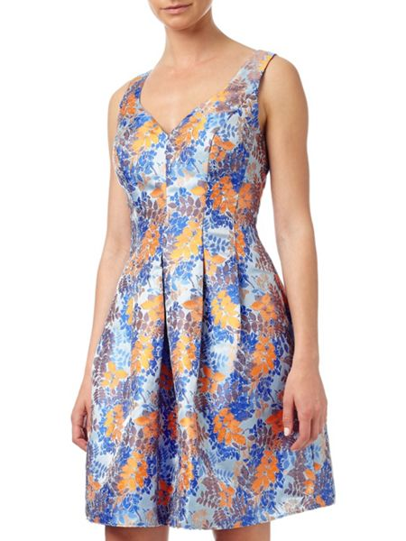 Adrianna Papell Jacquard Fit And Flare Dress