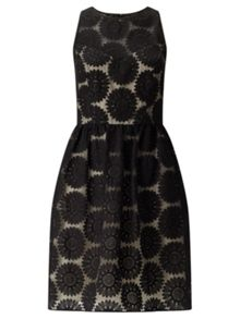 Adrianna Papell Embroidered Lace Fit And Flare Dress