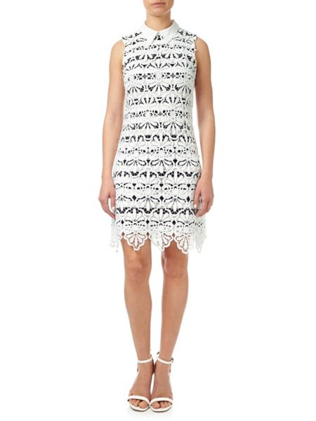 Adrianna Papell Macrame Lace Dress With Striped Lining