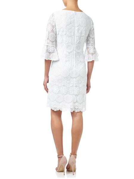 Adrianna Papell Crochet Lace Dress With Flounced Sleeves