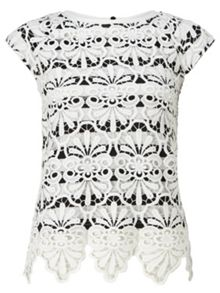 Adrianna Papell Stripe lace top