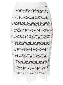 Adrianna Papell Stripe lace pencil skirt