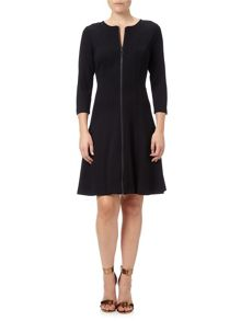Adrianna Papell Three Quarter Sleeve Zip Jersey Dress