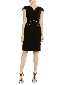 Adrianna Papell Cap sleeve crepe dress