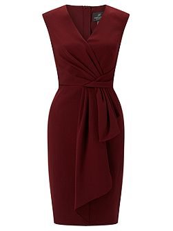 Sleeveless Drape Knot Shift Dress
