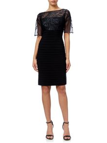 Adrianna Papell Short Sleeve Embroidered Bandeau Dress