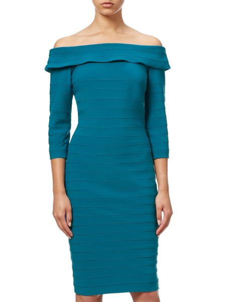 Adrianna Papell 3/4 Sleeve Off Shoulder Bandeau Dress