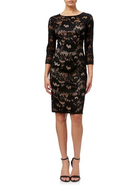 Adrianna Papell 3/4 Sleeve Lace Dress.