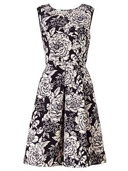 Sleeveless Fit And Flare Floral Cocktail Dress
