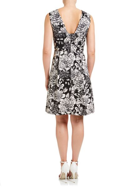 Adrianna Papell Sleeveless Fit And Flare Floral Cocktail Dress