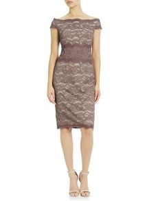 Adrianna Papell Sable Off-The-Shoulder Lace Dress