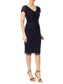 Adrianna Papell Short sleeve beaded cocktail dress