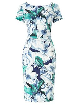 Short Sleeve Floral Sheath Dress