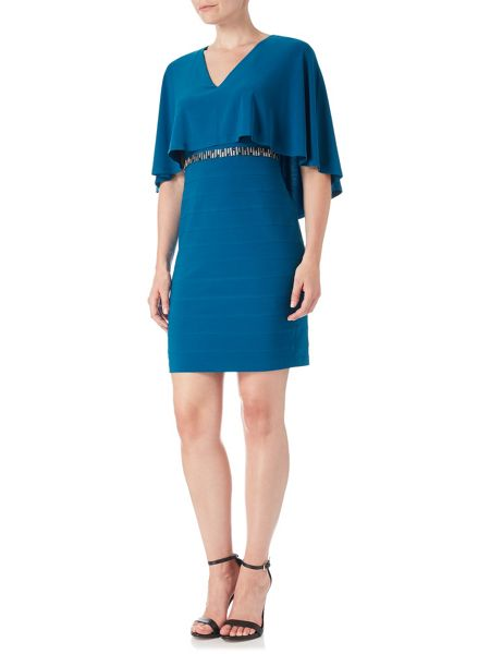 Adrianna Papell Popover Cape Sleeve Bandeau Dress