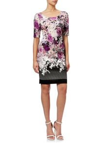 Adrianna Papell Short Sleeve Floral Sheath Dress