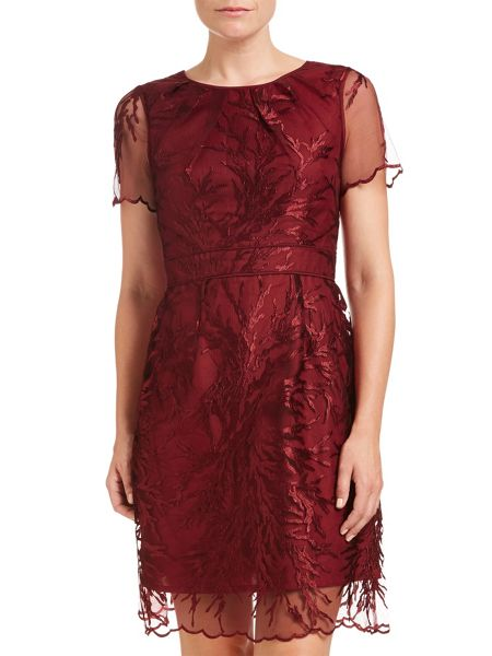 Adrianna Papell Short Sleeve Embroidered Cocktail Dress