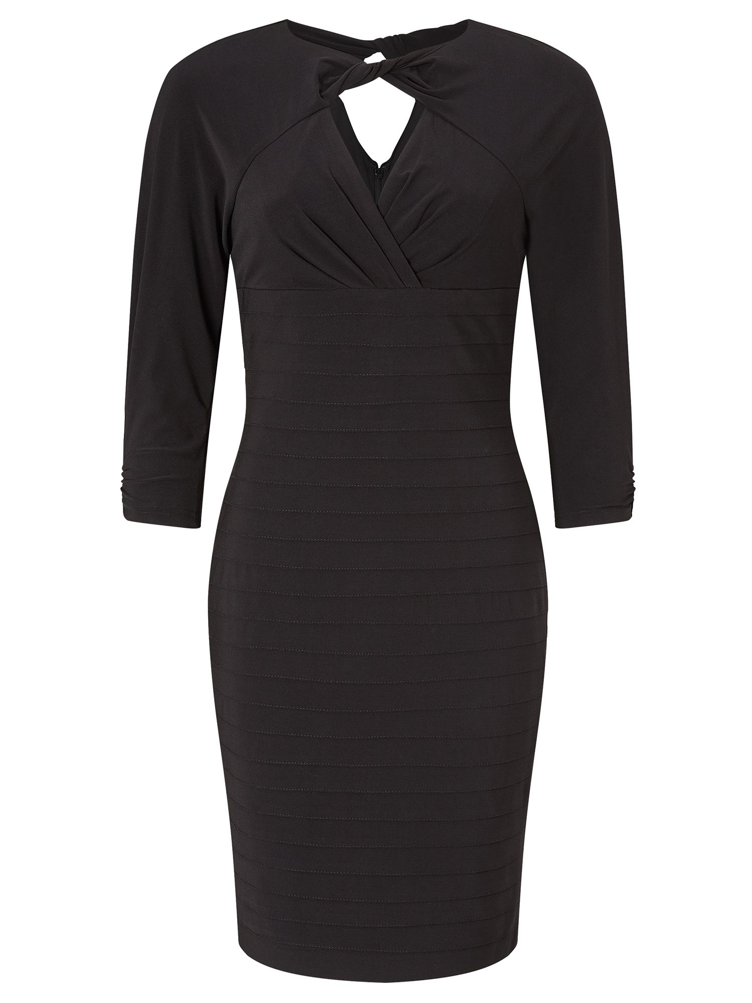 Adrianna Papell Long sleeve twisted neckline sheath dress, Black