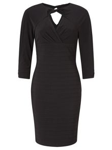 Adrianna Papell Long sleeve twisted neckline sheath dress